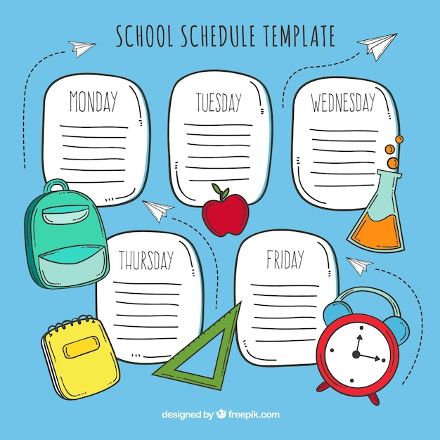 Blue hand drawn school timetable