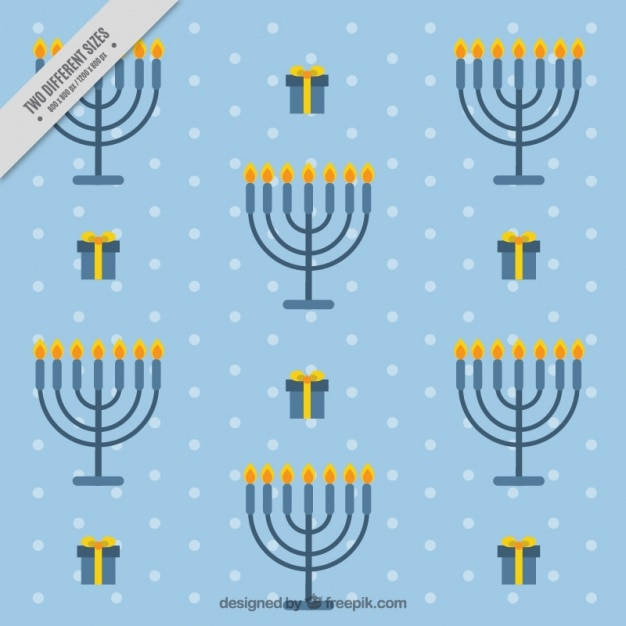 Blue hanukkah background with candelabras and\ gifts