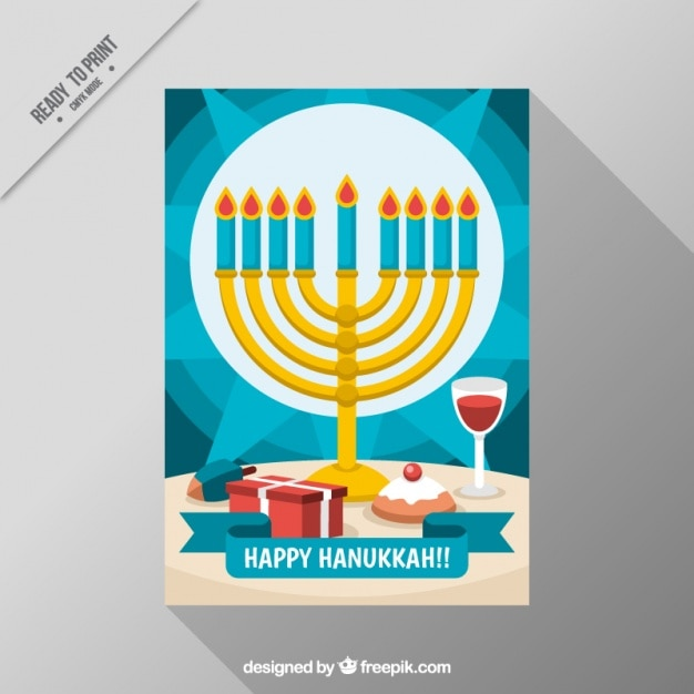Blue hanukkah card with candelabra and wine\ glass