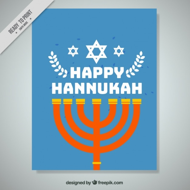 Blue hanukkah greeting card with\ candelabra