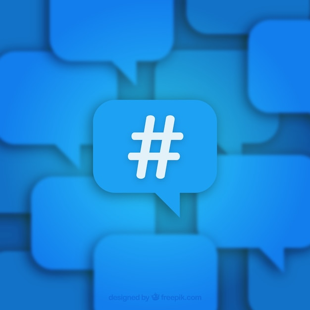 Blue hashtag background Free Vector