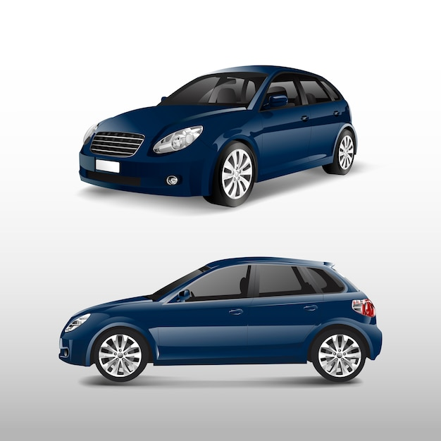 Blue hatchback car isolated on white vector Free Vector