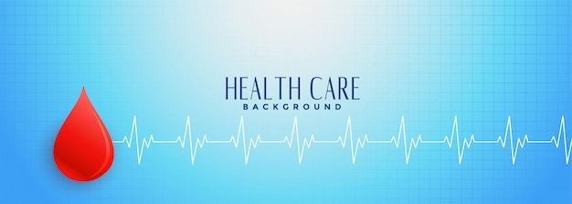 Blue healthcare banner with red blood drop Free Vector