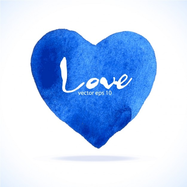 blue heart watercolor vector free download