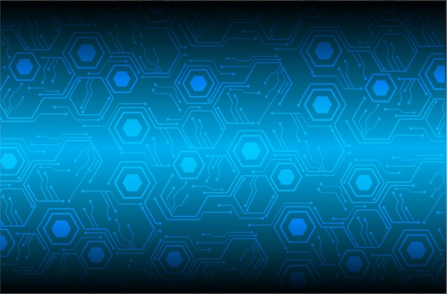 Blue hexagon cyber circuit future technology concept background Premium Vector