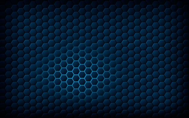 Blue hexagon with light blue background Premium Vector