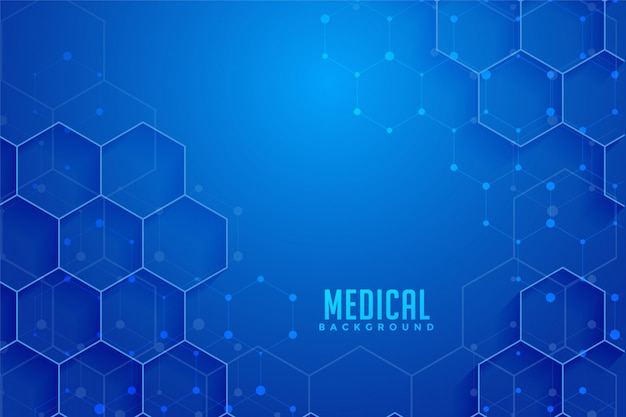 Blue hexagonal medical and healthcare background design Free Vector