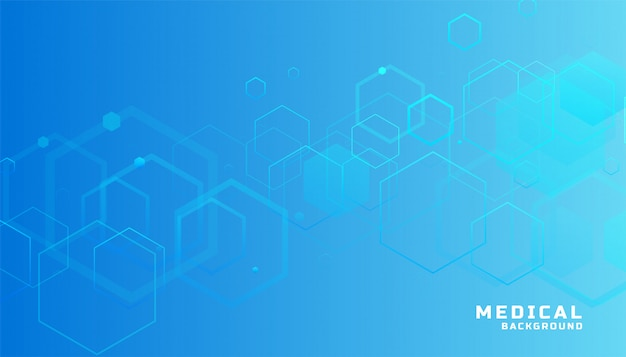 Blue hexagonal medical and healthcare background Free Vector