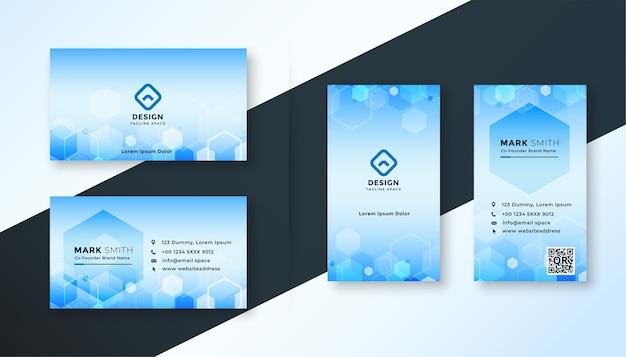 파란색 육각형 의료 스타일 명함 서식 파일 디자인 무료 벡터