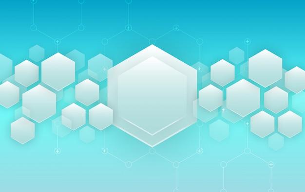 Фон синий шестиугольники. футуристический фон Premium векторы