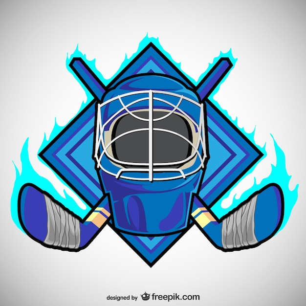 Blue hockey emblem