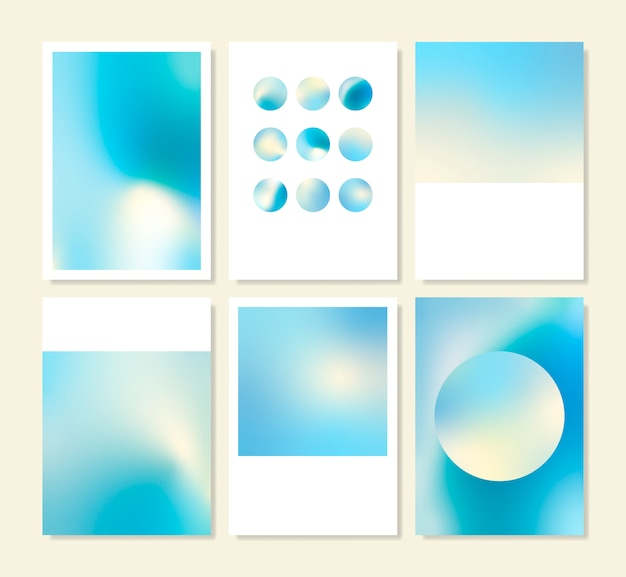 Blue holographic gradient background design set Free Vector