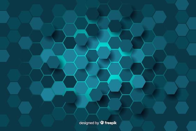 Blue honeycomb of digital circuit background Free Vector