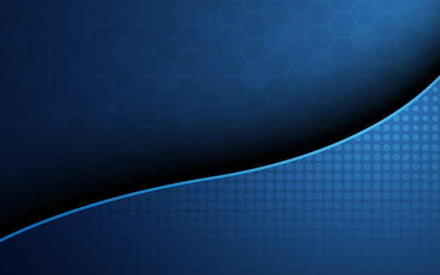 Blue honeycomb with blue wave curve abstract background. wallpaper and texture concept. minimal theme Premium Vector
