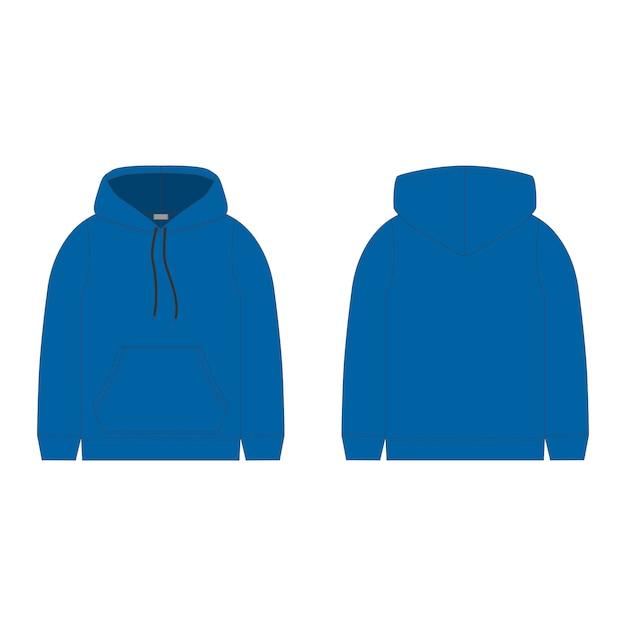 青いパーカー。男性用のテクニカルスケッチフード。技術設計。 Premiumベクター
