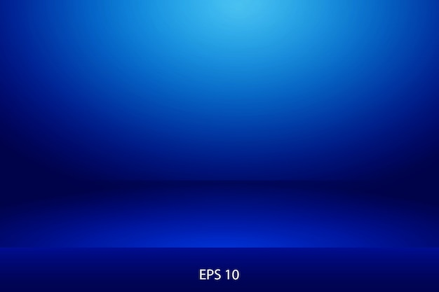 Blue horizontal studio gradient wall room, modern interior background Premium Vector