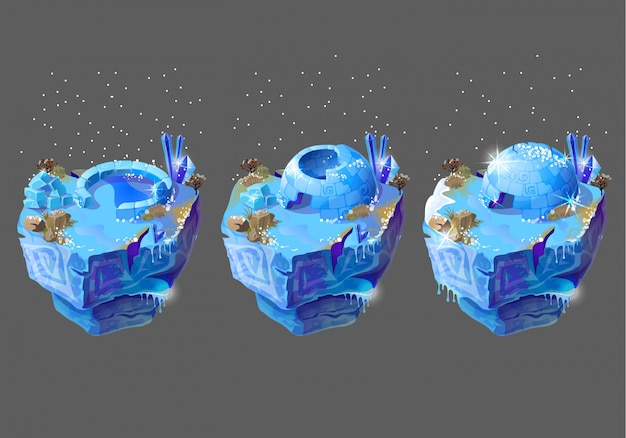 Blue icehouse, igloo, housing of northern peoples, building from ice blocks. Free Vector