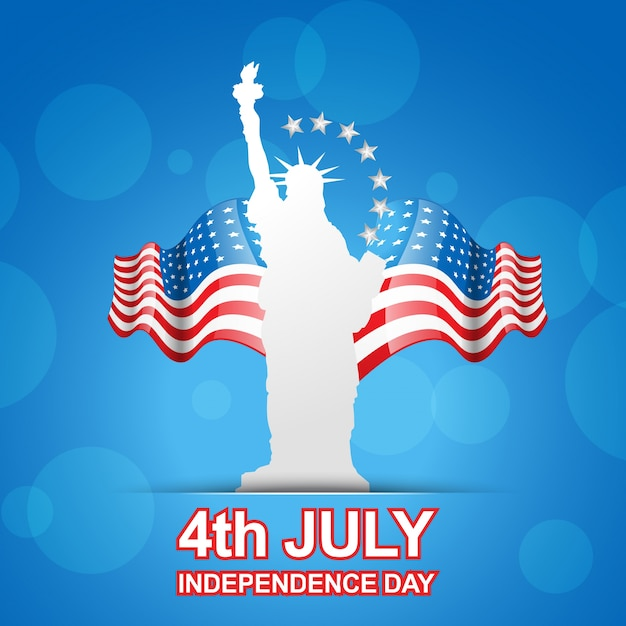 Blue independence day design with statue of liberty Free Vector