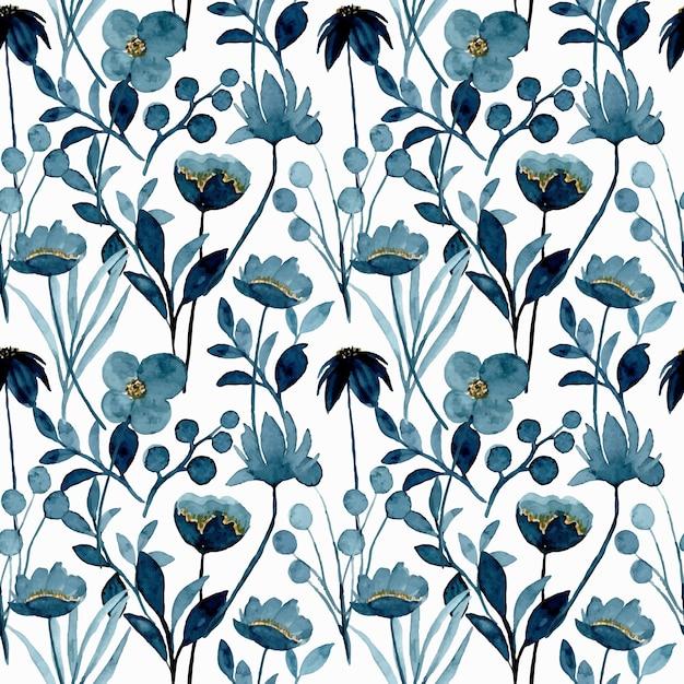 Blue indigo floral watercolor seamless pattern Premium Vector