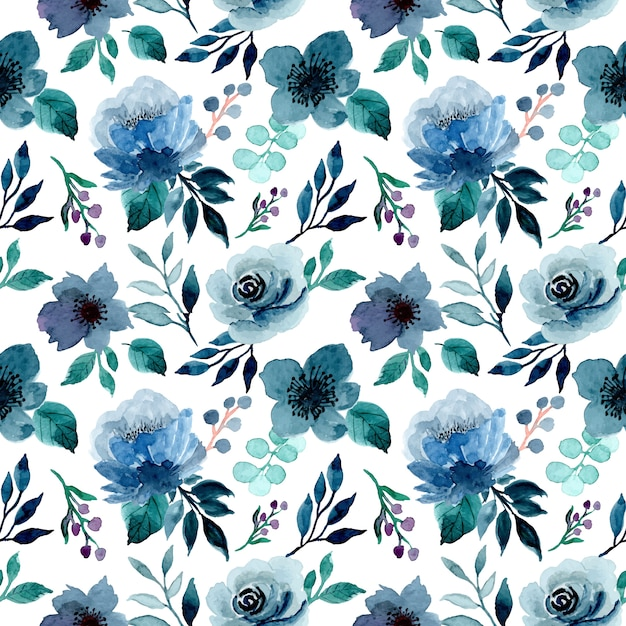 Blue indigo floral watercolor seamless pattern Premium Vector