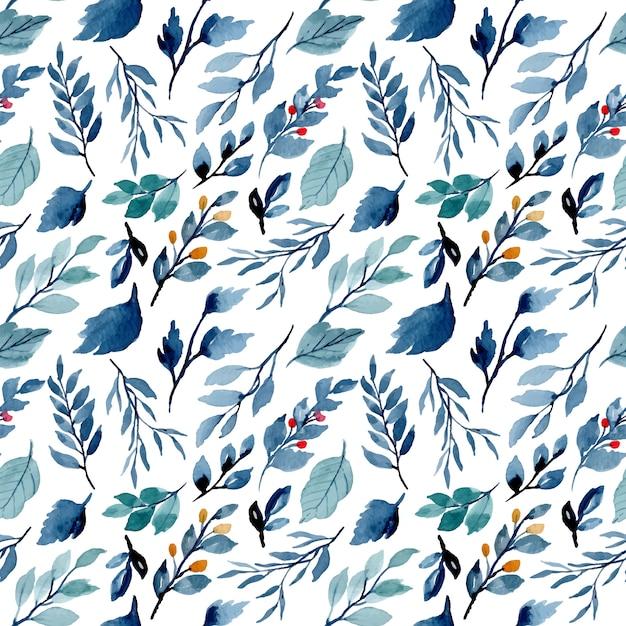 Blue indigo leaves watercolor seamless pattern Premium Vector
