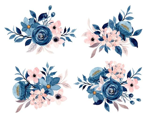 Коллекция розовых цветочных букетов синего индиго с акварелью Premium векторы