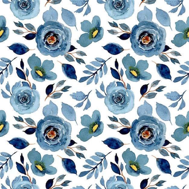 Blue indigo watercolor floral seamless pattern Premium Vector