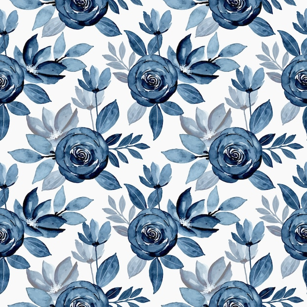 Blue indigo watercolor flower seamless pattern Premium Vector
