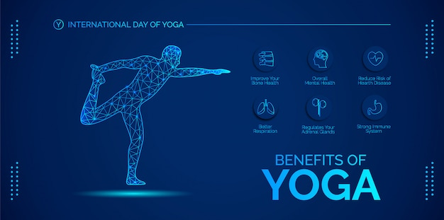 Blue  infographic about the benefits of yoga.  design for banners, backgrounds, posters or cards. Premium Vector