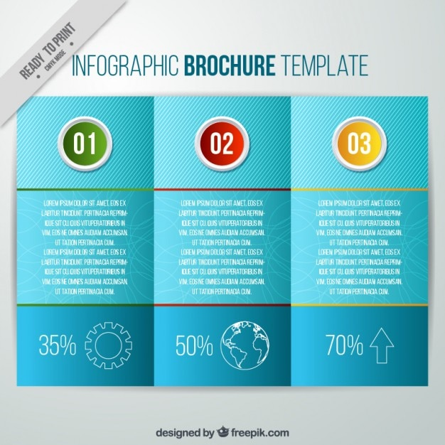 Blue Infographic Brochure With Steps Vector Free Download