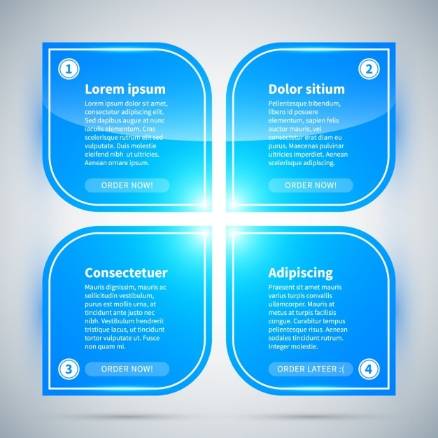 Blue infographic options Free Vector