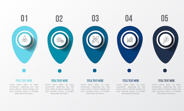 Blue infographic with 3d table Premium Vector