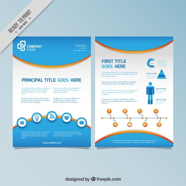 blue infography flyer vector free download