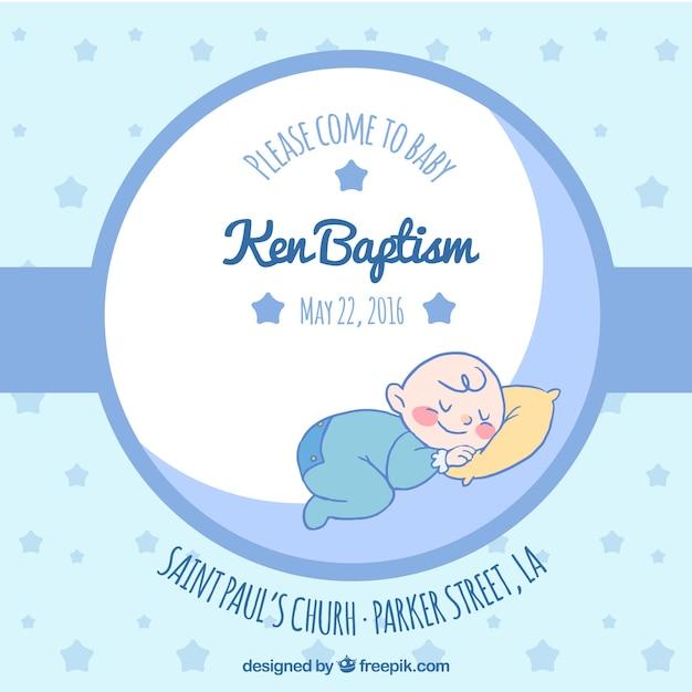 blue invitation for baptism vector free download