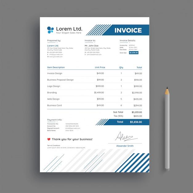 invoice psd template