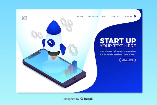 Blue isometric startup landing page Free Vector