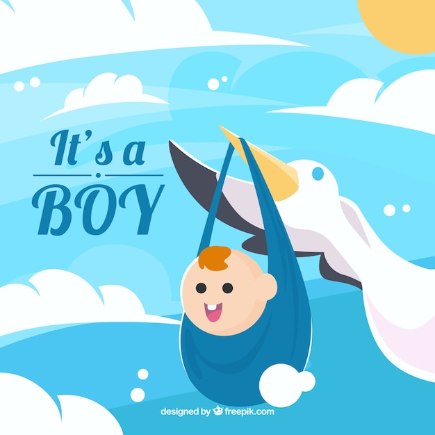 Blue its a boy background with stork Free Vector