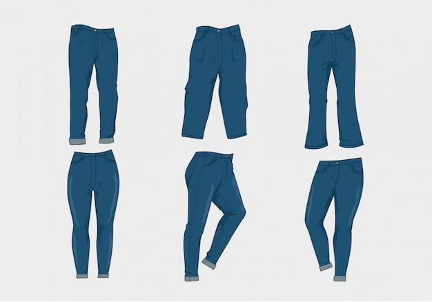 Blue jeans collection Free Vector