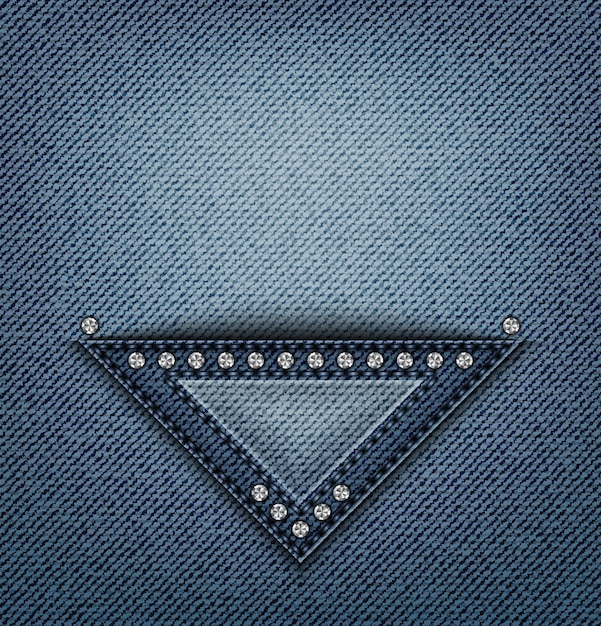 Blue jeans triangle design with stitches and sequins on denim. Premium Vector
