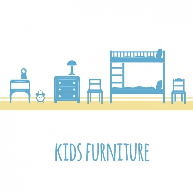 Blue kids furniture Free Vector