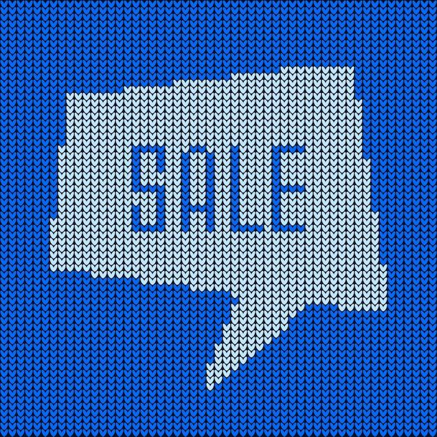 Синий вязаный пузырь речи о распродаже Premium векторы