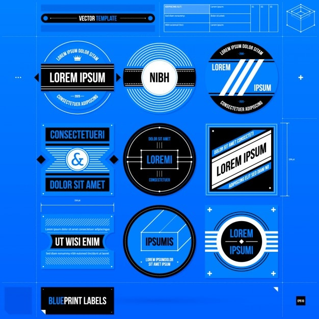 Blue Label Template Set Vector Free Download