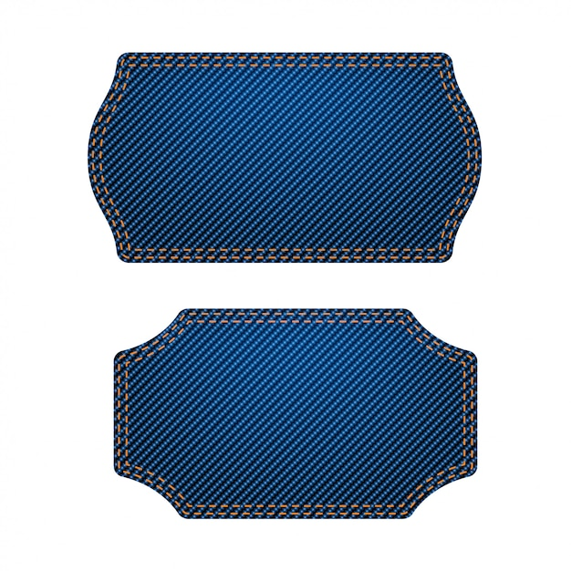 Blue labels big set Premium Vector