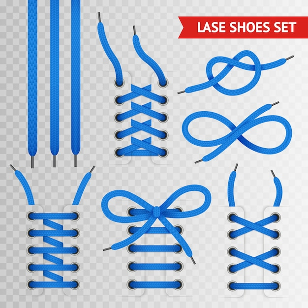 Blue lace shoes set Free Vector