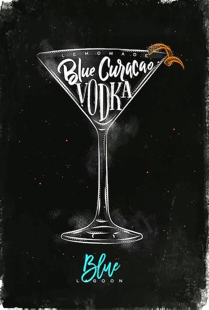 Голубая лагуна коктейль надпись лимонад, синий кюрасао, водка в винтажном графическом стиле, рисунок мелом и цветом на фоне классной доски Premium векторы