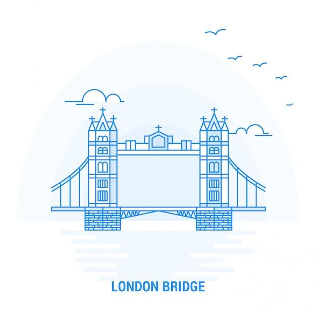 Лондонский мост blue landmark Premium векторы