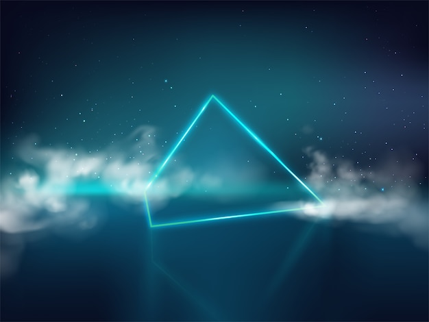 Blue laser pyramid or prism on reflective surface and starry background with smoke or fog Free Vector