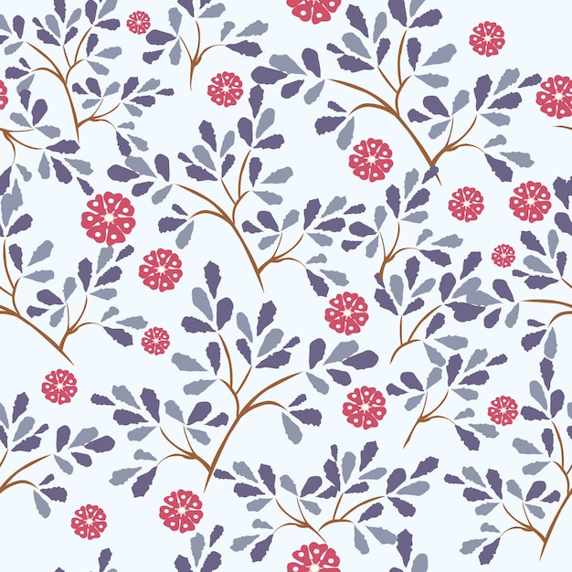 Blue leaf and red flower seamless pattern. Premium Vector