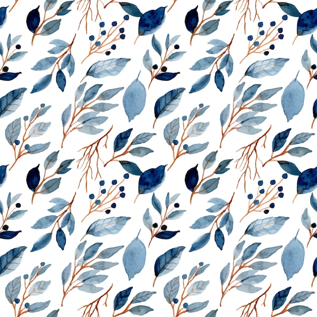Blue leaves watercolor seamless pattern Premium Vector