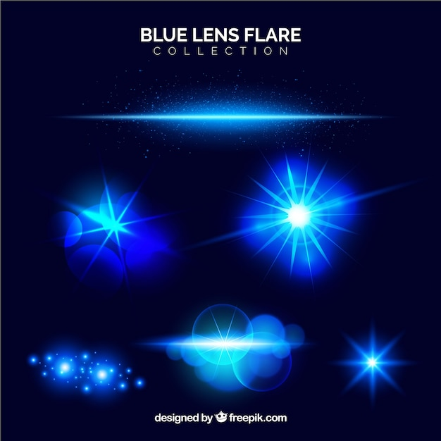 Blue lens flare collection Free Vector